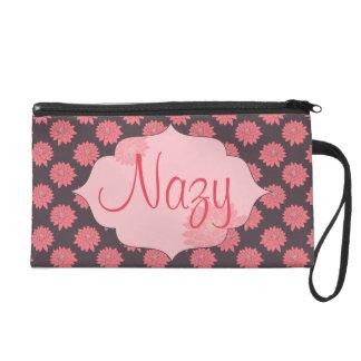 Customizable Pink flowered Wristlet