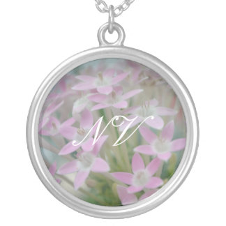 Customizable Pink Flowers Cluster Photo Print Round Pendant Necklace