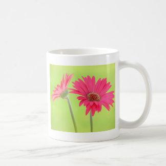Customizable Pink Gerber Daisies on Green Coffee Mugs