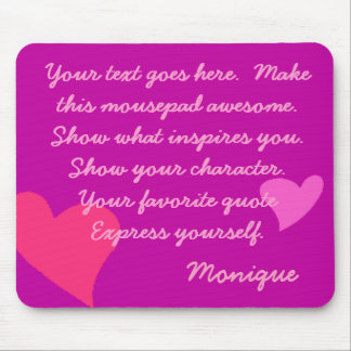 CUSTOMIZABLE PINK HEARTS, GIRLY MAGENTA MOUSE PAD