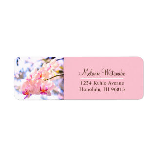 Customizable Pink Orchid Return Address Labels