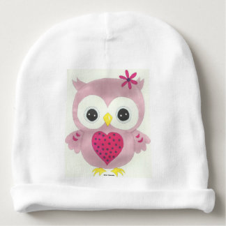 Customizable Pink Owl Baby Beanie Hat