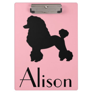 Customizable Pink Poodle Clipboard