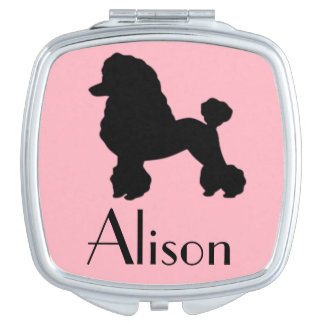 Customizable Pink Poodle Skirt Compact Mirror