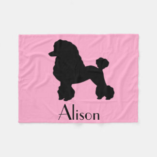 Customizable Pink Poodle Skirt Fleece Blanket