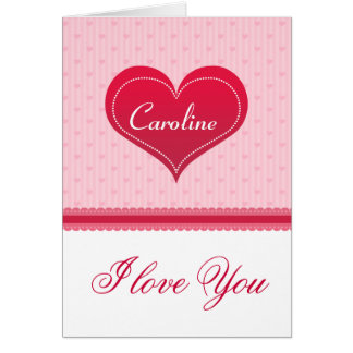 Customizable Pink Red Valentine's Day Heart Greeting Card