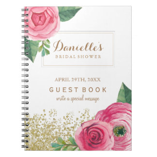 Customizable Pink Roses Bridal Shower Guest Book Spiral Note Books