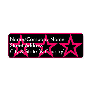 Customizable Pink Star on Black Return Address Lab Return Address Label