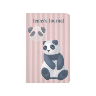 Customizable Pink Stripe Cuddly Panda Balloon Journal