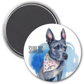Customizable Pit Bull Dog Blue Watercolor 7.5 Cm Round Magnet