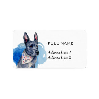 Customizable Pit Bull Dog Blue Watercolor Address Label