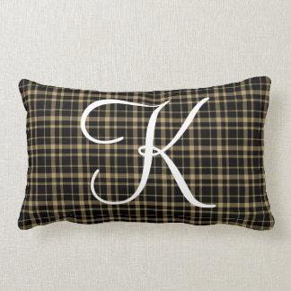 Customizable Plaid Initial Monogram Lumbar Cushion