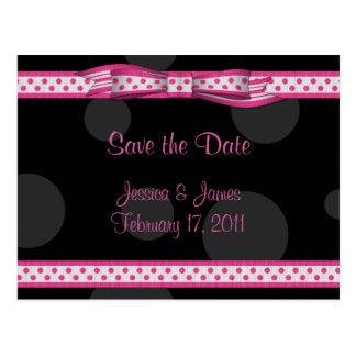 Customizable Polka Dot Save the Date Postcard