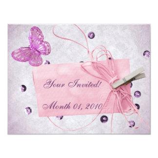 Customizable Pretty Pink Butterfly Design 11 Cm X 14 Cm Invitation Card