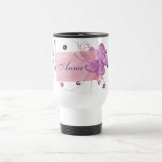 Customizable Pretty Pink Butterfly Design Mugs