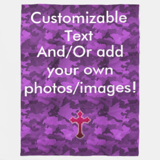 Customizable Purple Camo Fleece Blanket