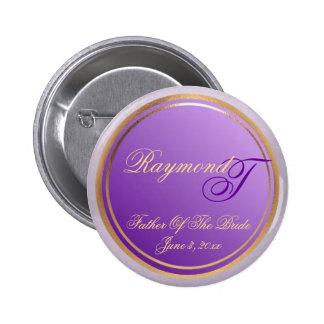 Customizable Purple Father Of The Bride Keepsake 6 Cm Round Badge