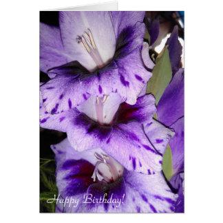 Customizable Purple Gladiolus Happy Birthday Card