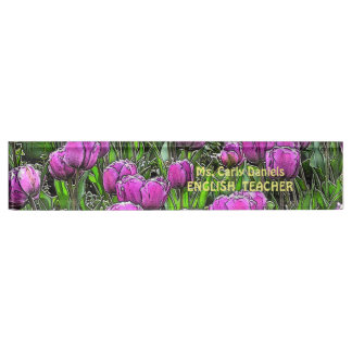 "CUSTOMIZABLE ""PURPLE TULIPS"" NAMEPLATE"