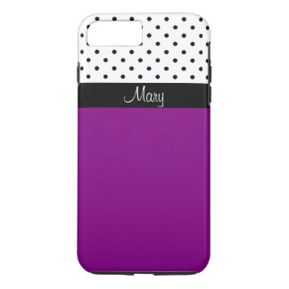 Customizable Purple Violet, White/Black Polka Dots iPhone 7 Plus Case
