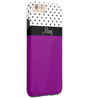 Customizable Purple Violet, White/Black Polka Dots Tough iPhone 6 Plus Case