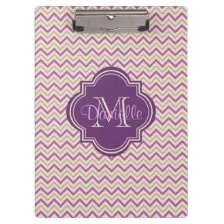 Customizable Quatrefoil Chevron Orchid Purple Tan Clipboard