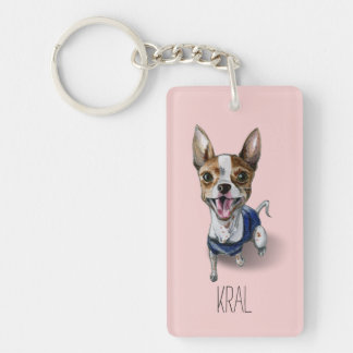 Customizable Rat Terrier Dog Watercolor Painting Single-Sided Rectangular Acrylic Key Ring