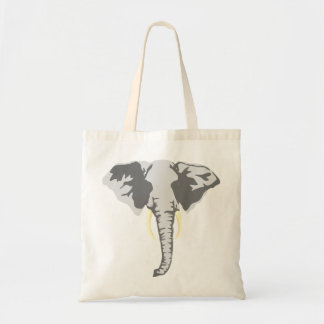 customizable realistic elephant with tusks budget tote bag