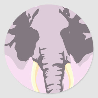 customizable realistic elephant with tusks round sticker