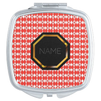 Customizable Red Argyle Compact Mirror