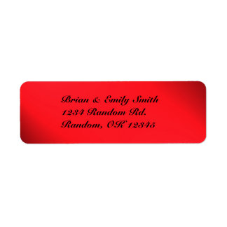 Customizable red black bold return address labels