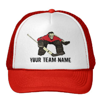 Customizable red hockey goalie team name hat