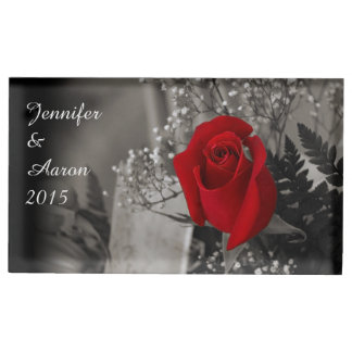 Customizable Red Rose Black and White Background Table Number Holder