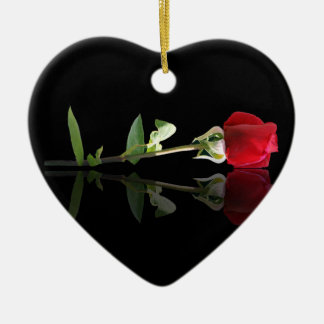 Customizable Red Rose Ornament