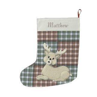 Customizable Reindeer on Plaid Large Christmas Stocking