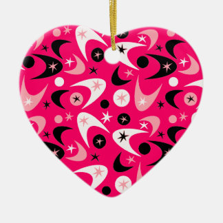 Customizable Retro Boomerangs Ceramic Heart Decoration