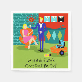 Customizable Retro Martini Couple Paper Napkins