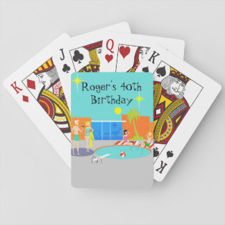 Customizable Retro Pool Party Playing Cards