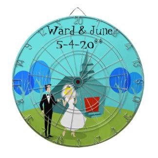 Customizable Retro Wedding Couple Dart Board