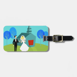 Customizable Retro Wedding Couple Luggage Tag