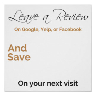 Customizable review notice poster