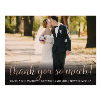 Customizable Rose Gold Photo Thank You So Much! Postcard