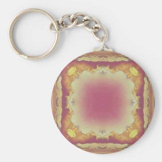 Customizable Rose Yellow Framed Center. Key Ring