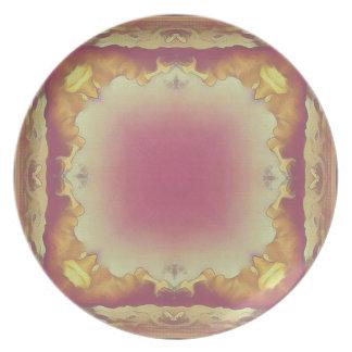 Customizable Rose Yellow Framed Center. Plate