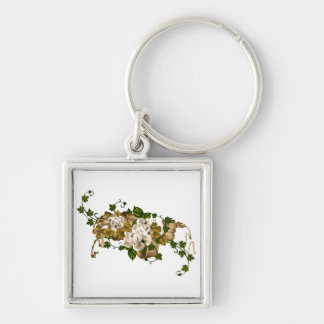 CUSTOMIZABLE Roses and Golden Clover Key Ring