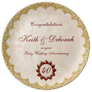 Customizable Ruby Wedding Anniversary Plate