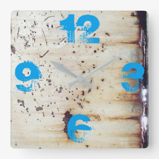 Customizable Rusted White Metal Square Wall Clock