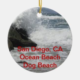 Customizable San Diego, Ocean Beach, CA Gifts Ceramic Ornament