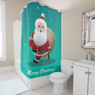 Customizable Santa With A Sack Full Of Xmas Gifts Shower Curtain