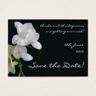Customizable Save the Date Card, White Freesias